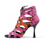 Pink / Orange Snake-Print Damen Tanzschuhe in Schlangenleder-Optik von PortDance
