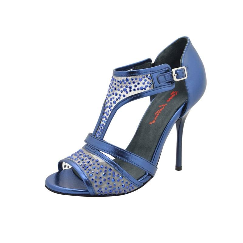 XENA Metallic Blue Tanzschuh mit Swarovski Strasssteine von Rosso Latino