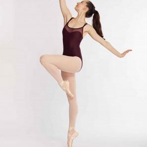Lara Tanz Body doppelte Spaghettiträger mit Tüll-Einsatz von Temps Danse