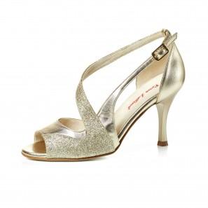 CELESTE Tanzschuh Leder Gold Glitter von Rosso Latino