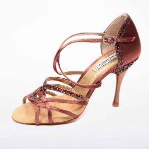 Tanzschuh Latin Satin Bronze/Glitzer PD800-55MM PortDance