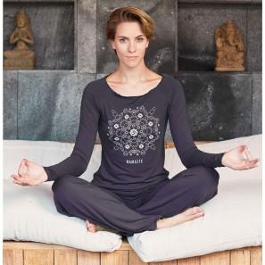 Langarm Yoga Top mit Print Namaste Aman Temps Danse