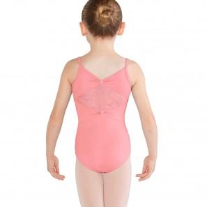 Ballettbody Kinder mit Spaghettiträgern und Glitzer Mesh M1217C Bloch/Mirella