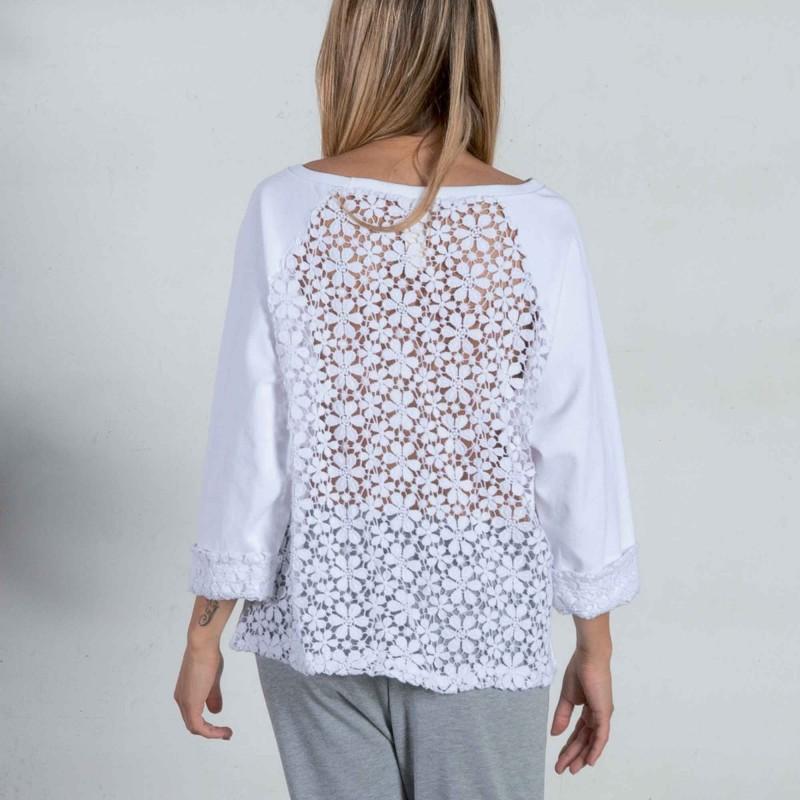 Sweatshirt mit Spitzenrücken DZ2C135 Dimensione Danza